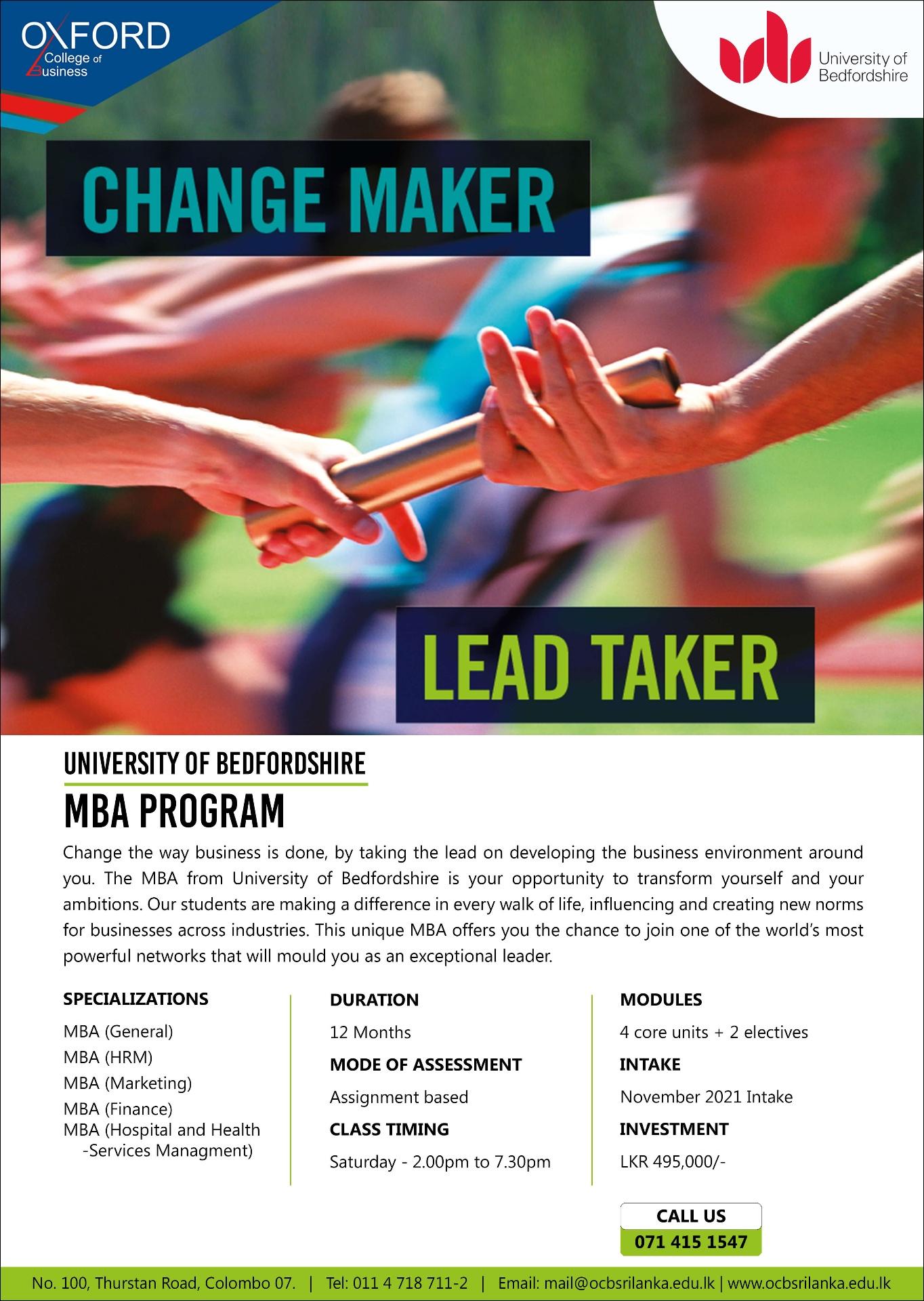 12 Month MBA – November 2021 Intake