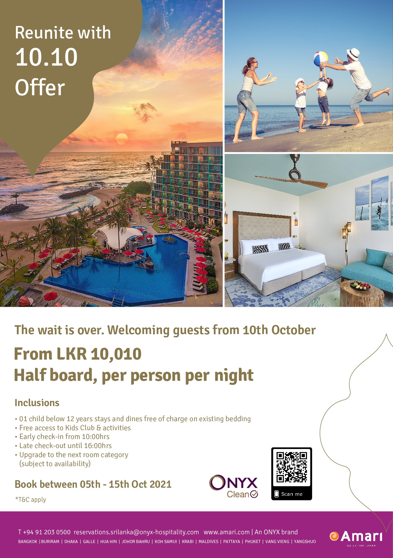 Last day to book - Reunite with 10.10 offer at Amari Galle