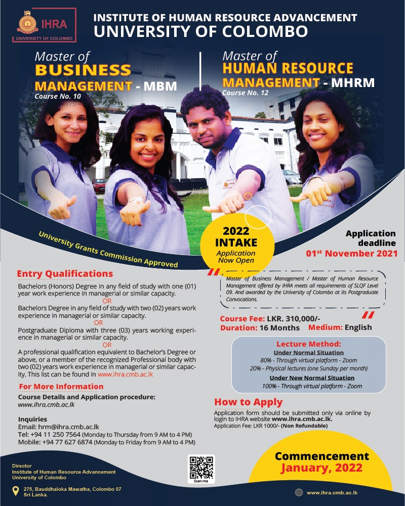Application Calling for Master of Business Management & Master of HRM - Intake 2022