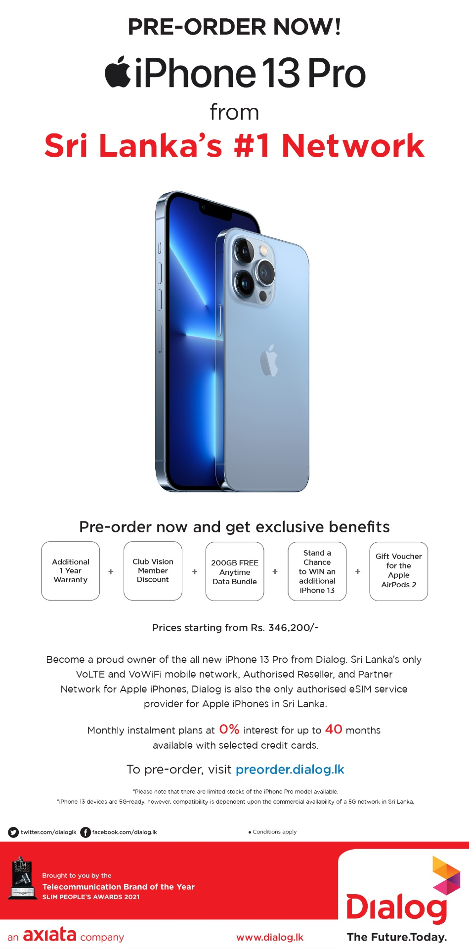 Pre-order iPhone 13 Pro & Pro Max from Dialog and get exclusive benefits