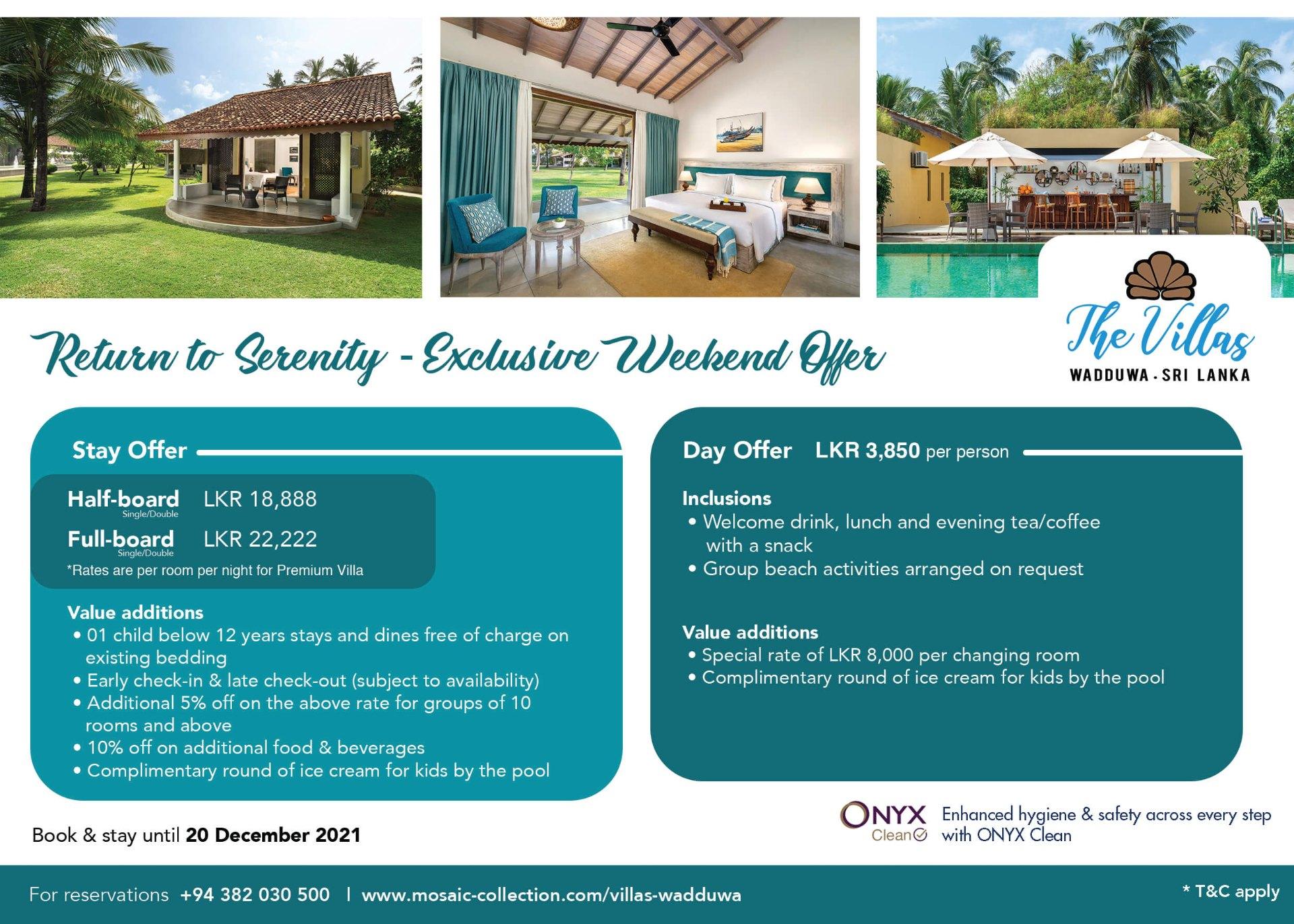 Return to serenity - exclusive weekend offer