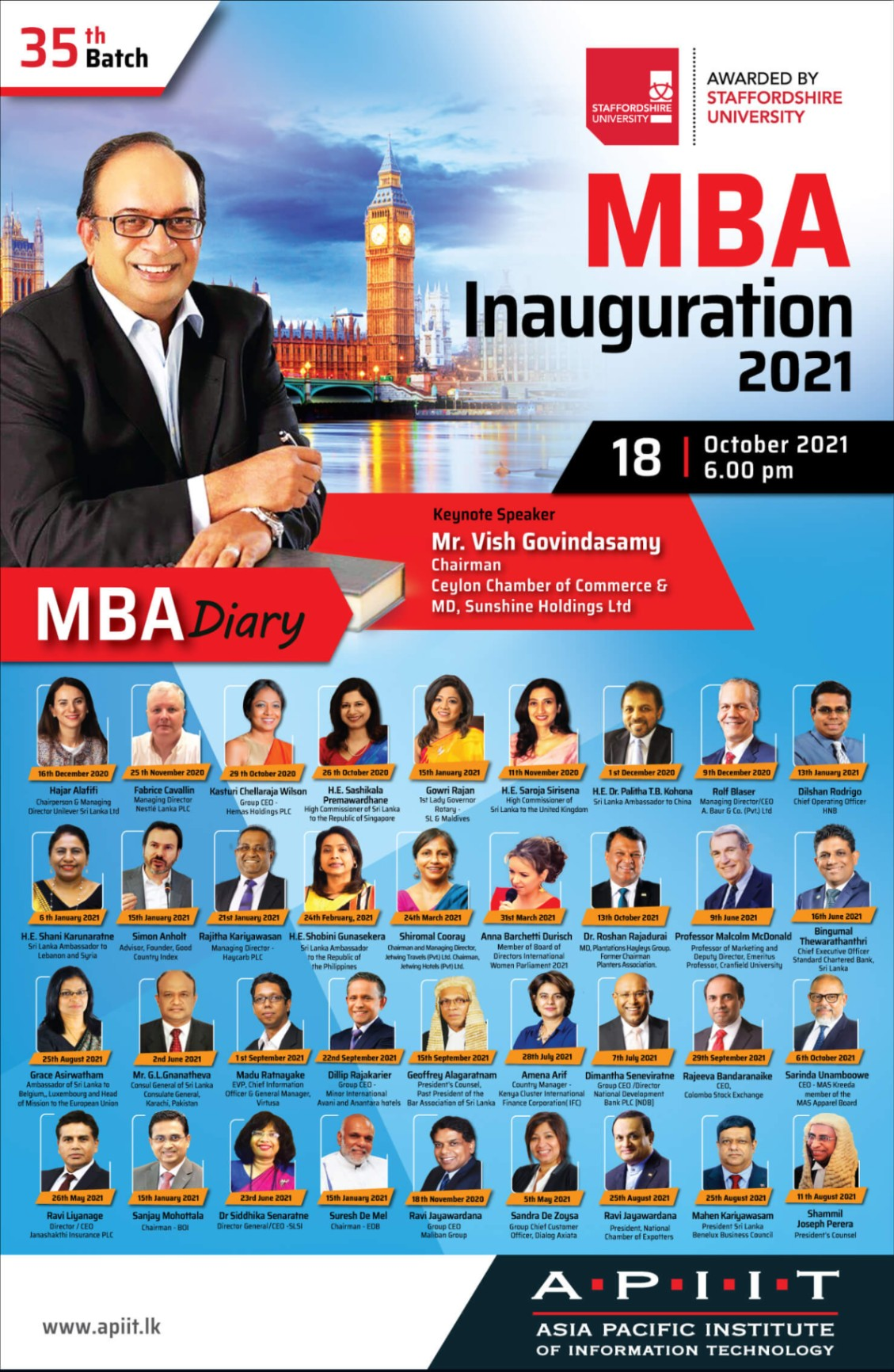 50th APIIT MBA Diary at Inauguration 2021!