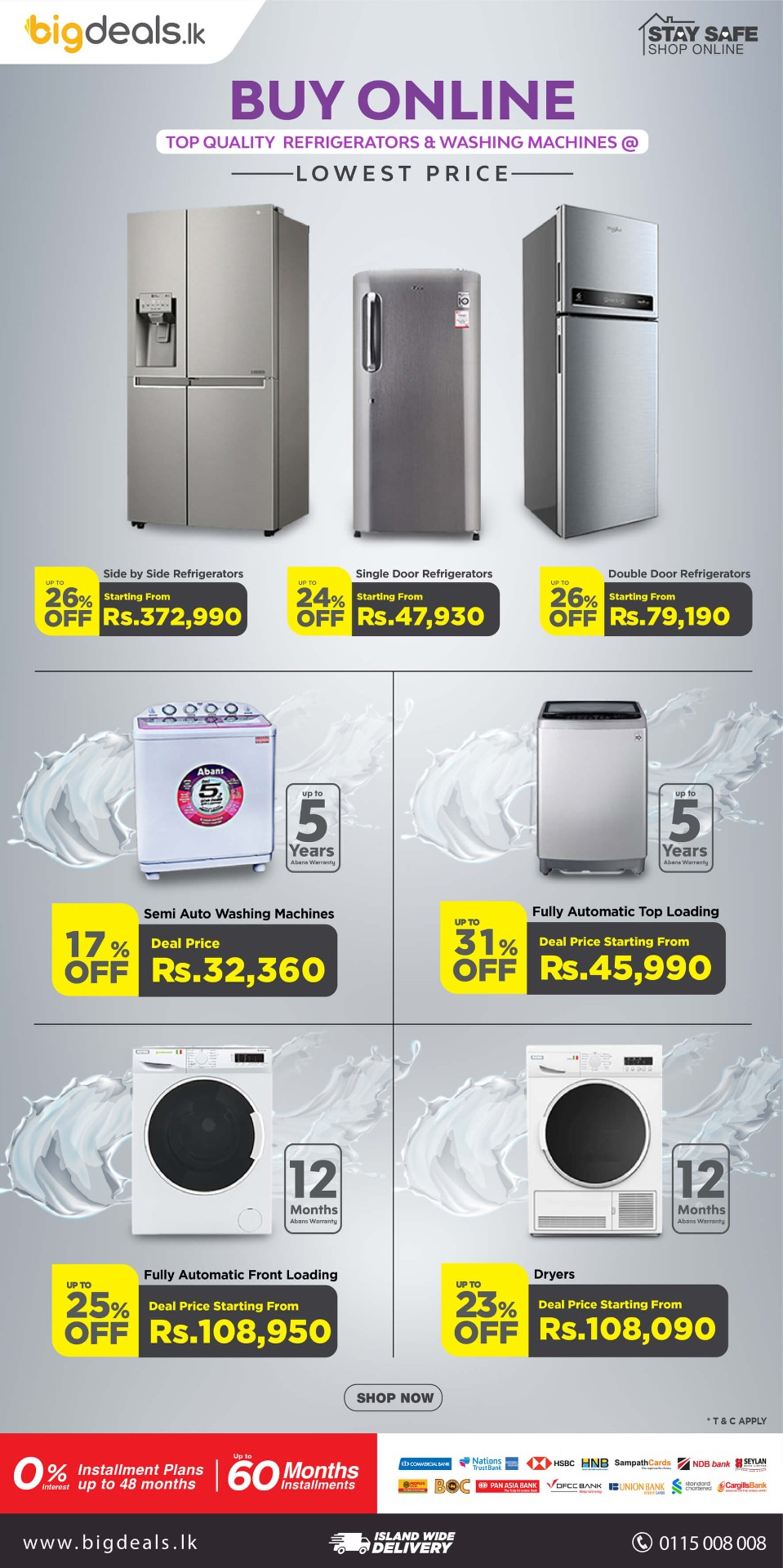 Don't miss this chance to get 26% OFF on Refrigerators and 31% OFF on Washing machines!