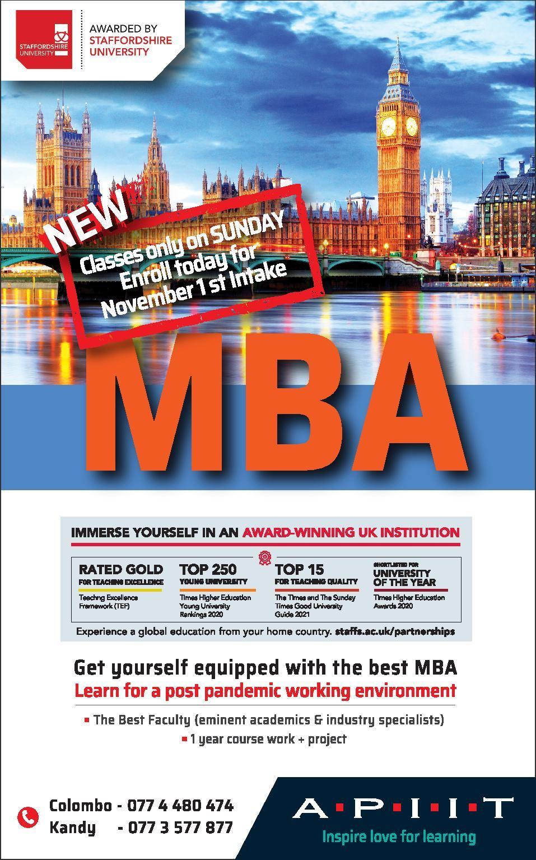 MBA – Classes only on Sundays!