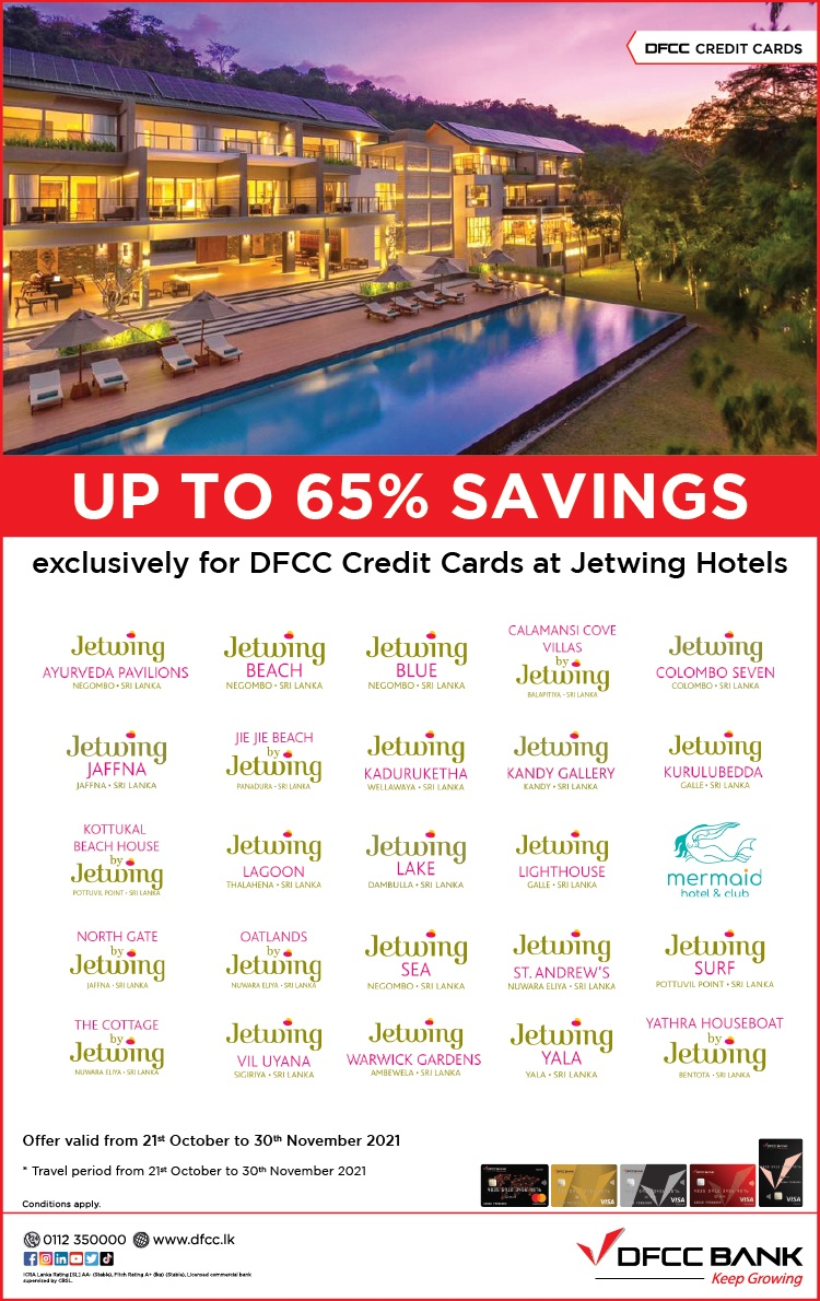 Enjoy up to 65% savings at Jetwing Hotels with DFCC Credit Cards!