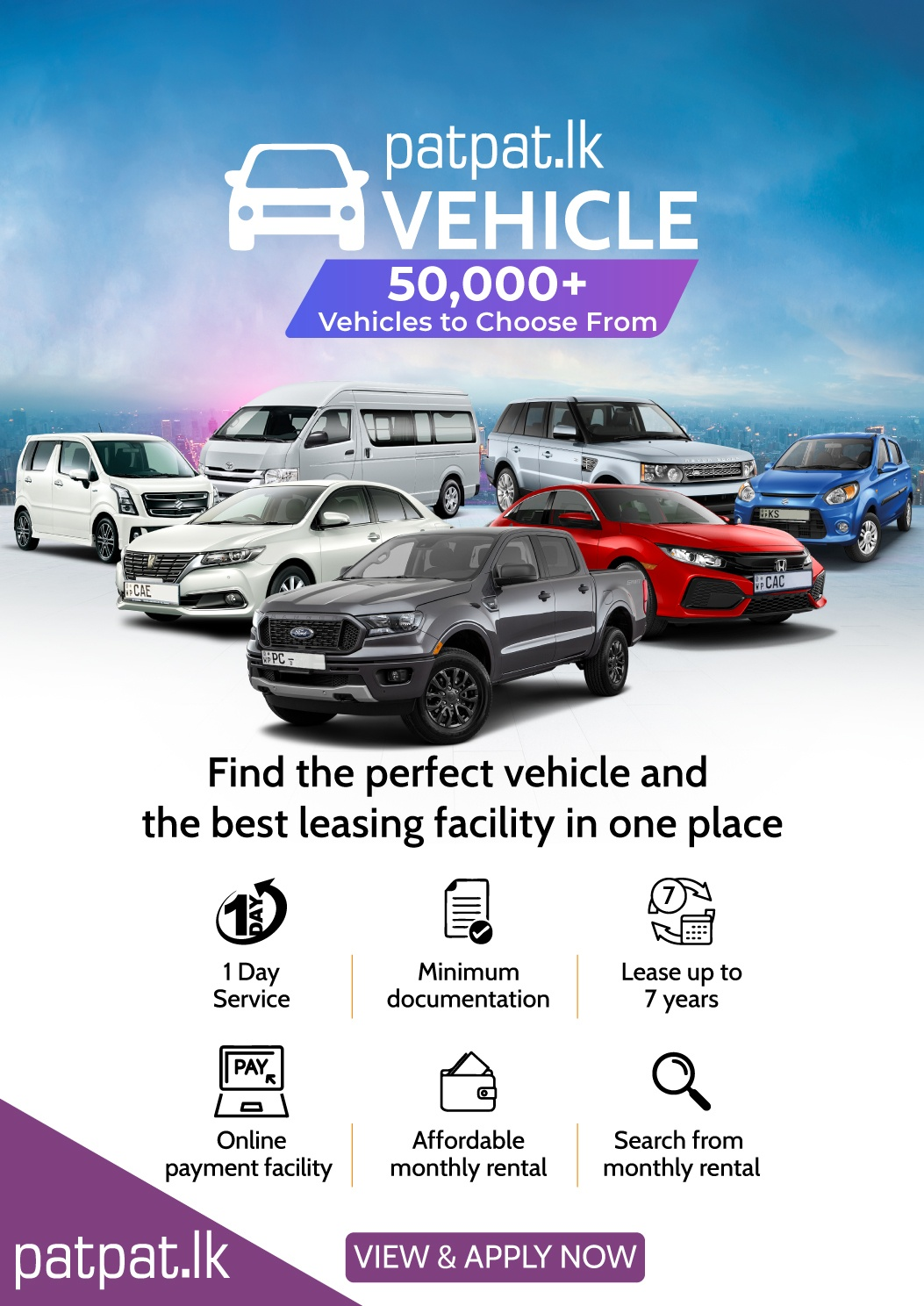 LEASING is now EASY with patpat.lk. Search for your dream vehicle today